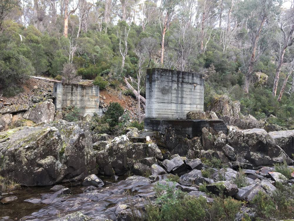 Hydro bridge ruins over Nive River